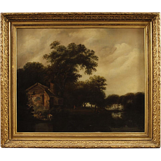 19th Century French Painting Landscape With Gilt Frame