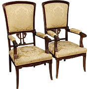 20th Century Pair Of Spanish Armchairs In Mahogany