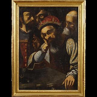 18th Century Spanish Interior Scene Painting Oil On Canvas
