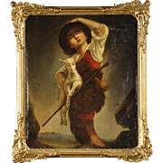 19th Century French Oil Painting Shepherd Boy With Goat