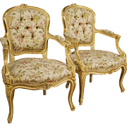 20th Century Pair Of Italian Lacquered Armchairs