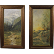 20th Century Pair Of French Paintings Oil On Panel