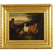 19th Century French Bucolic Scene Painting Oil On Canvas