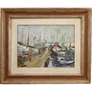 20th Century Signed Painting Seascape Port Of Alassio