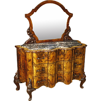 20th Century Italian Dresser With Mirror In Walnut