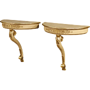 20th Century Pair Of French Lacquered Console Tables
