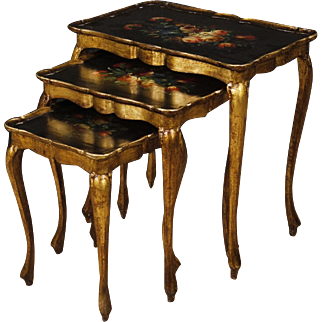 20th century Triptych Of Lacquered Italian Coffee Table