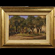 20th Century Italian Signed Painting Oil On Masonite