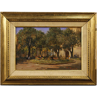 20th Century Italian Signed Painting Oil On Masonite