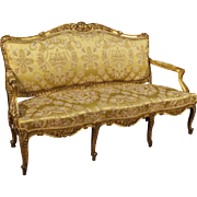 19th Century French Golden Sofa In Louis XV Style