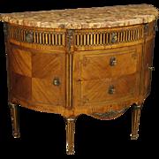 19th Century French Inlaid Demi Lune Dresser
