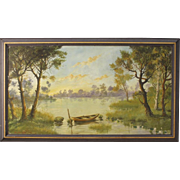 20th Century French River Landscape Painting