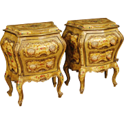 20th Century Venetian Lacquered And Painted Bedside Tables