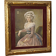 20th Century French Pastel Painting Portrait Of A Noblewoman
