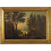19th Century Spanish Landscape Painting With Gilt Frame