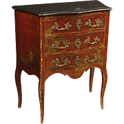 20th Century French Lacquered Chinoiserie Dresser With Marble Top