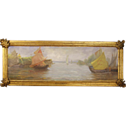 20th Century French Seascape Painting Oil On Panel