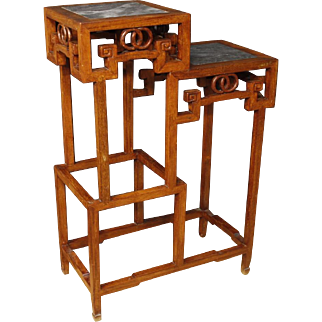 20th Century Chinese Etagere In Wood With Stone Top