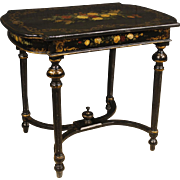 20th Century French Lacquered Side Table With Floral Decoration