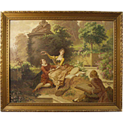 19th Century Italian Signed Painting Oil On Canvas