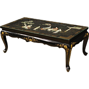 20th Century French Lacquered And Painted Chinoiserie Coffee Table