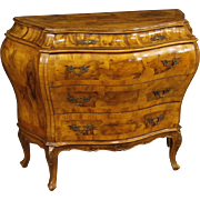 20th Century Venetian Dresser with 5 Drawers In Walnut And Burl Wood