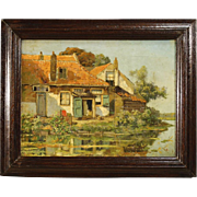 20th Century Flemish Oil Landscape Painting