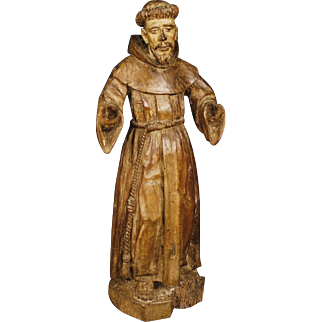 18th Century French Wooden Sculpture Saint Francis