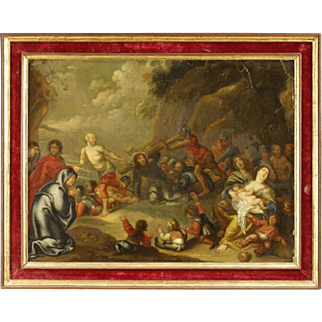 19th Century Dutch Religious Painting Depicting Way Of The Cross