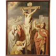 19th Century French Crucifixion Painting