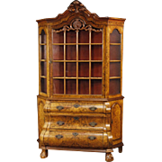20th Century Dutch Vitrine In Walnut And Burl Walnut