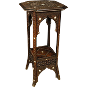 20th Century Syrian Column Side Table In Chiselled Wood With Mother Of Pearl Decorations