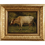 19th Century Belgian Painting Depicting Cow