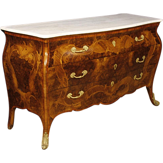 20th Century Italian Inlaid Commode With Marble Top In Louis XV Style