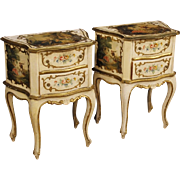 20th Century Pair Of French Lacquered Bedside Tables