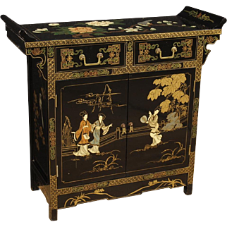 20th Century Chinese Lacquered And Painted Sideboard