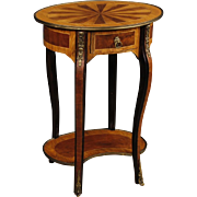 20th Century French Inlaid Side Table With Bronze And Brass