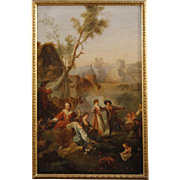 19th Century French Popular Scene Painting Oil On Canvas