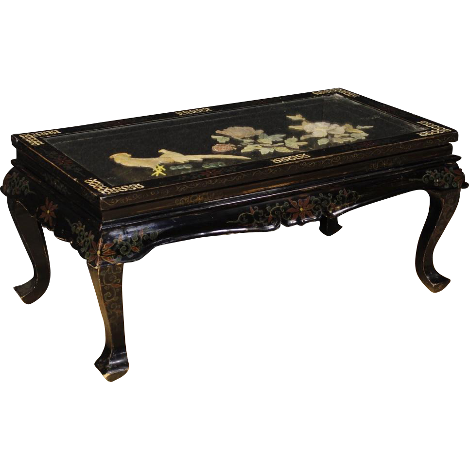 20th century french coffee table in lacquered and painted 20th century french coffee table in lacquered and painted chinoiserie wood geotapseo Gallery