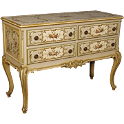 20th Century Italian Lacquered, Painted, Gilt Commode