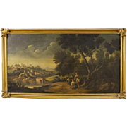 19th Century Italian Oil Painting Landscape With Characters And Architecture