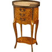 20th Century French Inlaid Side Table With Marble Top