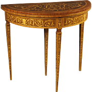 20th Century Italian Inlaid Demilune Console Table In Wood In Louis XVI Style