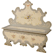 20th Century Venetian Lacquered Bench With Floral Decor