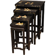 20th Century Set Of 4 French Side Tables In Lacquered And Painted Chinoiserie Wood