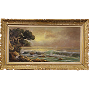 20th Century French Signed Seascape Oil Painting