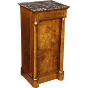 20th Century French Side Table In Empire Style In Walnut Wood With Marble Top