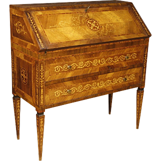 20th Century Italian Inlaid Bureau In Rosewood, Walnut, Maple In Louis XVI Style