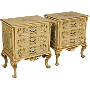 20th Century Pair Of Italian Bedside Tables In Lacquered, Painted, Gilt Wood With Floral Decorations
