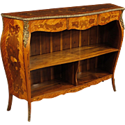 20th Century French Inlaid Bookcase Cabinet Sideboard In Walnut, Rosewood